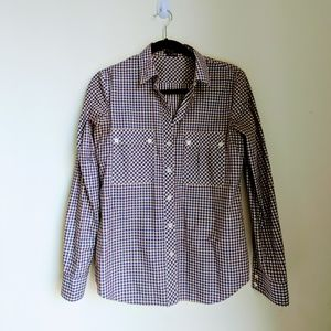 Theory Plaid Long Sleeve Button Down Shirt Size S